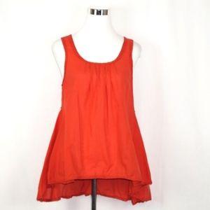 ODILLE Orange Hi Lo Boho Hippe Cotton Tank Shirt